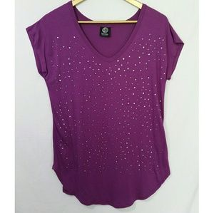Bobeau Blouse Short Sleeve Studded V Neck Small